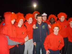 Munster's Mike Sherry meets members of the Ballincollig U17 team