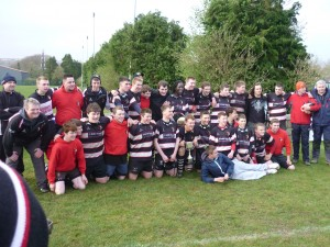 The victorious Ballincollig RFC U17 Squad & Coaches