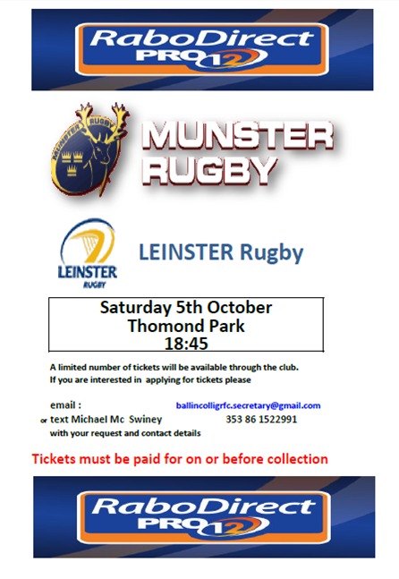 Leinster Game poster
