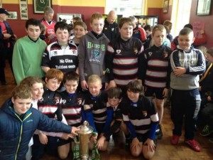 Ballincollig U12s with the RBS Six Nations Trophy at Rockwell College.